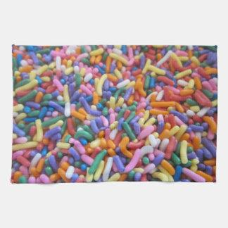 El azúcar asperja toallas de cocina