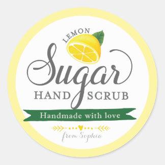El azúcar del limón friega el tarro de albañil pegatina redonda