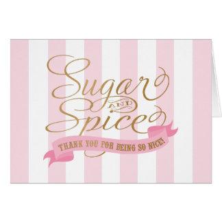 El azúcar y la especia rayados rosados le tarjeta pequeña