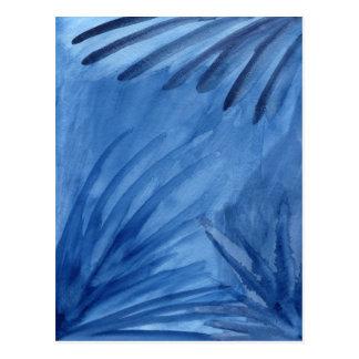 El azul abstracto irradia la postal de la pintura