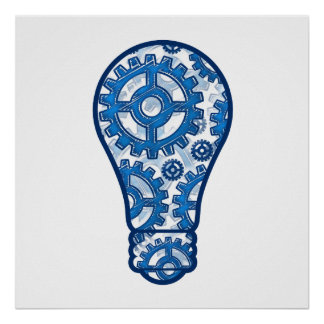 El azul adapta la bombilla póster