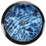 El azul agita el reloj de 4 aguamarina relojes aqua clock