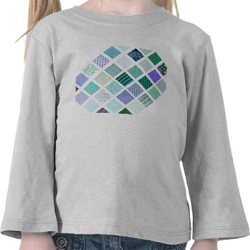 El azul ajusta el modelo de mosaico camiseta