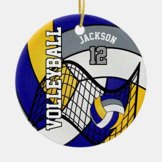 El azul, amarillo y el gris personalizan voleibol adorno navideño redondo de cerámica