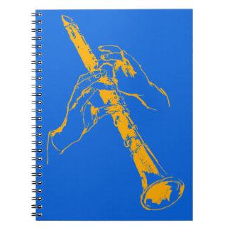 El azul anaranjado del vintage da el Clarinet Benn Libros De Apuntes Con Espiral