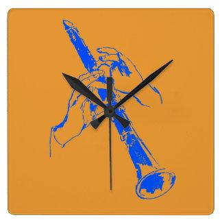 El azul anaranjado del vintage da el Clarinet Benn Relojes De Pared