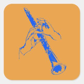 El azul anaranjado del vintage da el Clarinet Pegatina Cuadrada