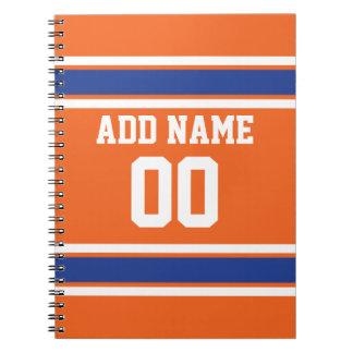 El azul anaranjado se divierte el jersey con nombr libros de apuntes con espiral
