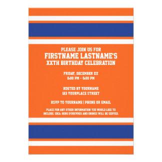 El azul anaranjado se divierte el jersey con nombr invitacion personalizada