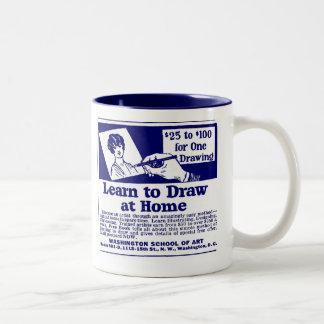 "El azul ""APRENDE DIBUJAR"" la taza de café"