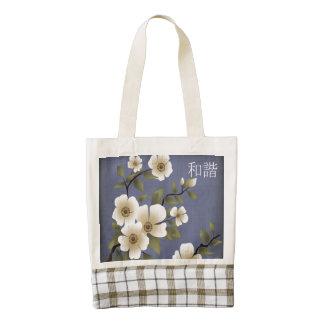 El azul blanco del flor texturizó la bolsa de asas bolsa tote zazzle HEART