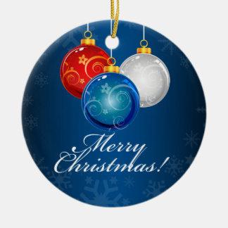 El azul blanco rojo patriótico adorna Felices Ornamentos De Reyes Magos