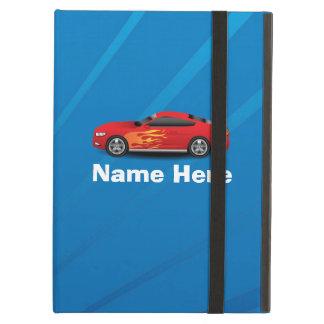 El azul brillante con el coche de deportes rojo