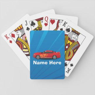 El azul brillante con el coche de deportes rojo baraja de cartas
