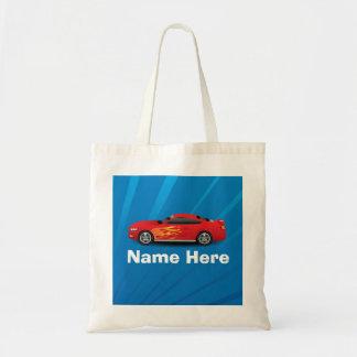 El azul brillante con el coche de deportes rojo bolsa tela barata