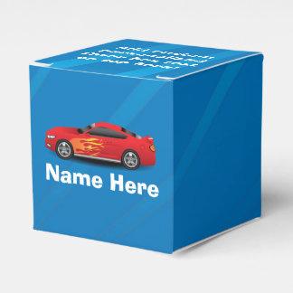 El azul brillante con el coche de deportes rojo caja para regalos