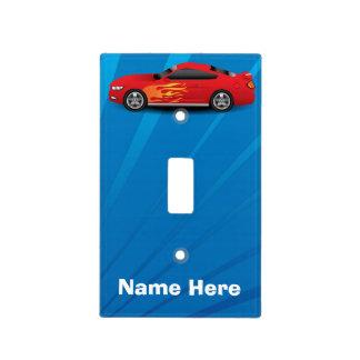 El azul brillante con el coche de deportes rojo cubierta para interruptor