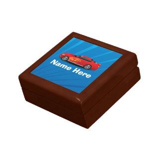 El azul brillante con el coche de deportes rojo fl caja de regalo