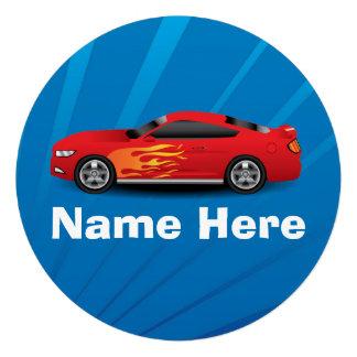 El azul brillante con el coche de deportes rojo fl invitaciones personalizada