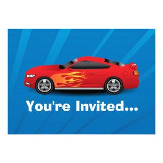 El azul brillante con el coche de deportes rojo fl invitacion personalizada