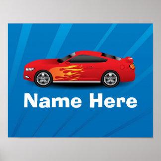El azul brillante con el coche de deportes rojo fl posters