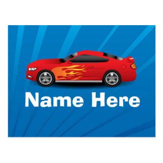 El azul brillante con el coche de deportes rojo fl tarjetas postales