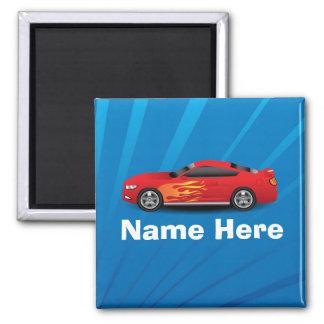 El azul brillante con el coche de deportes rojo imán cuadrado