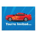El azul brillante con el coche de deportes rojo invitacion personalizada