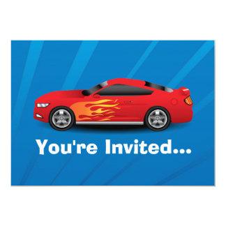 El azul brillante con el coche de deportes rojo invitación 12,7 x 17,8 cm