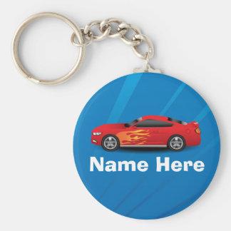 El azul brillante con el coche de deportes rojo llavero redondo tipo pin