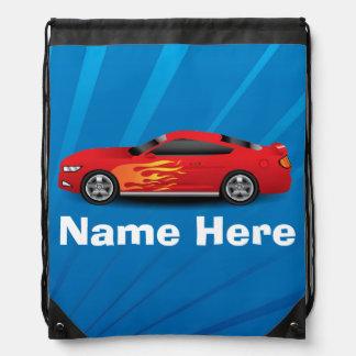 El azul brillante con el coche de deportes rojo mochila