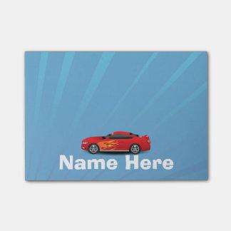 El azul brillante con el coche de deportes rojo nota post-it