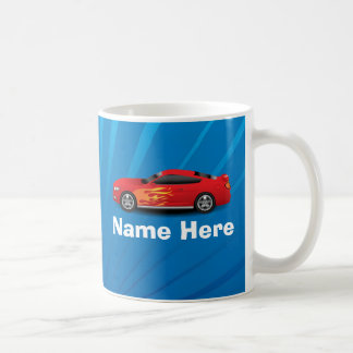 El azul brillante con el coche de deportes rojo taza de café