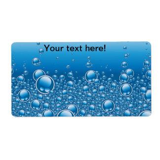El azul burbujea fondo etiqueta de envío