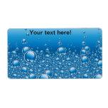 El azul burbujea fondo etiquetas de envío