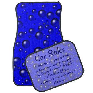 El azul burbujea las reglas del coche alfombrilla de auto