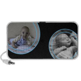 El azul burbujea marco de la foto mini altavoz