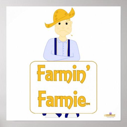 El azul cabelludo rubio de Farmie que frunce el ce Poster