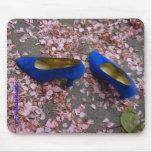 El azul calza el cojín de ratón tapete de raton