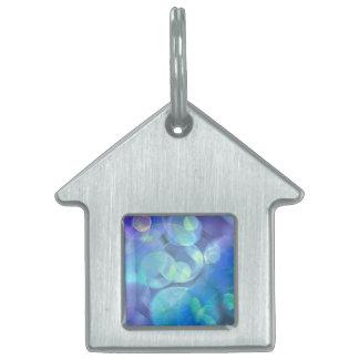 El azul caprichoso mancha arte abstracto placa de mascota