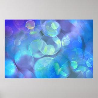 El azul caprichoso mancha arte abstracto póster