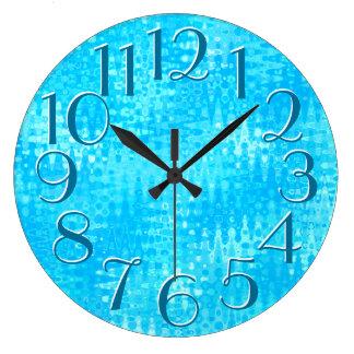 El azul claro ondula números de gran tamaño reloj redondo grande