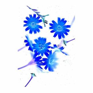 El azul colorized diseño dispersado de las flores  escultura fotografica