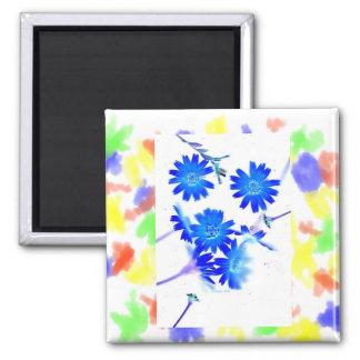 El azul colorized diseño dispersado de las flores  imán cuadrado