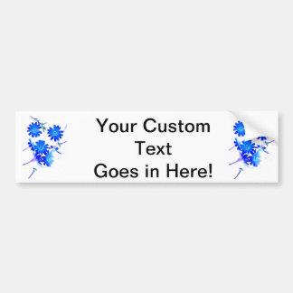 El azul colorized diseño dispersado de las flores  pegatina para auto