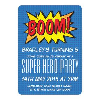 """El azul cómico del superhéroe personalizado invitación 5"""" x 7"""""""