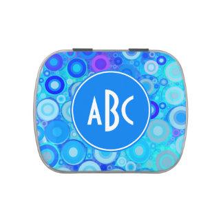 El azul con monograma de la aguamarina suena el jarrones de dulces