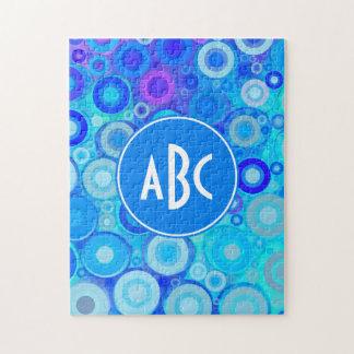 El azul con monograma de la aguamarina suena el puzzles