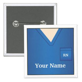 El azul conocido de la enfermera friega el botón c pin cuadrado