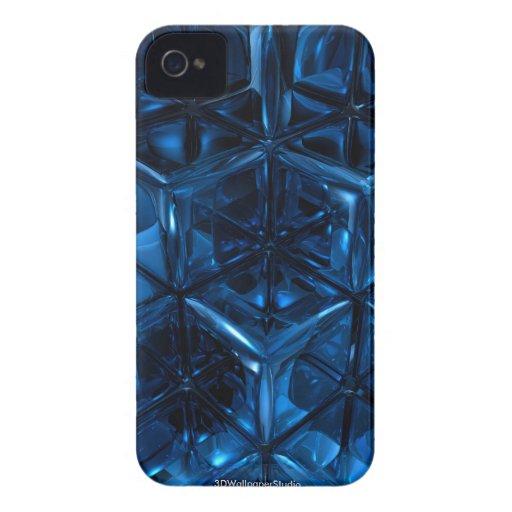 El azul cubica la caja de la casamata Case-Mate iPhone 4 protectores